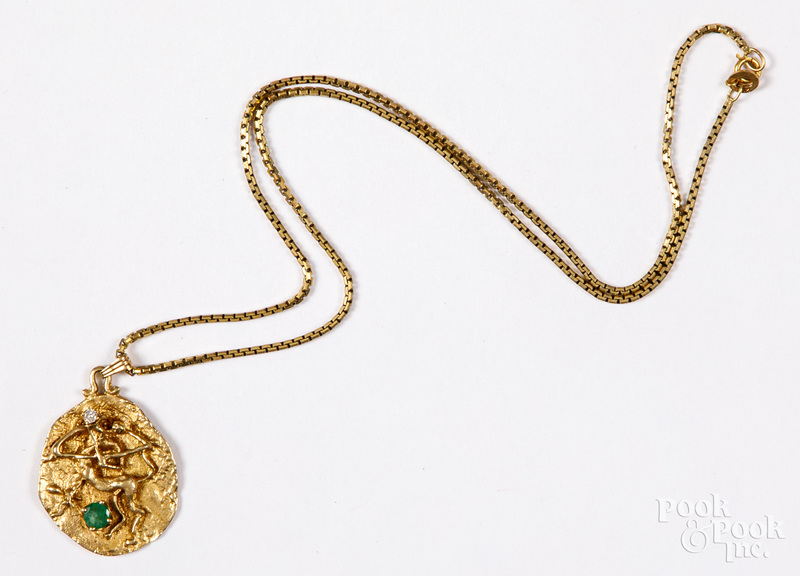 14K gold necklace, with diamond & gemstone pendan