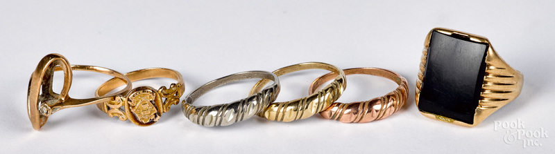 10K gold rings with a 10K gold & onyx ring