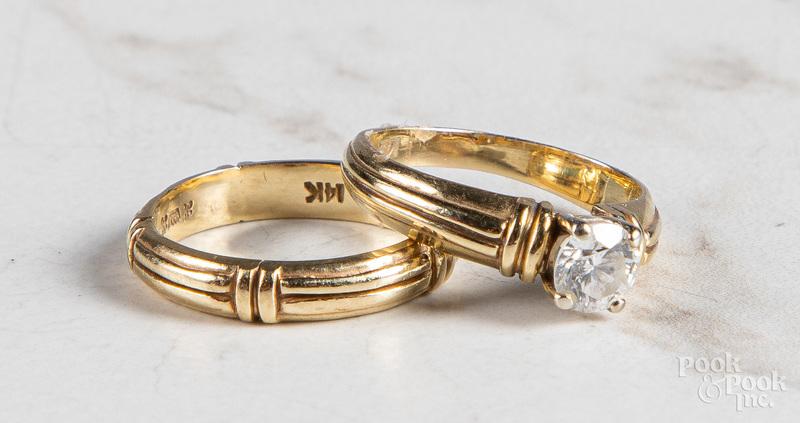14K yellow gold wedding set