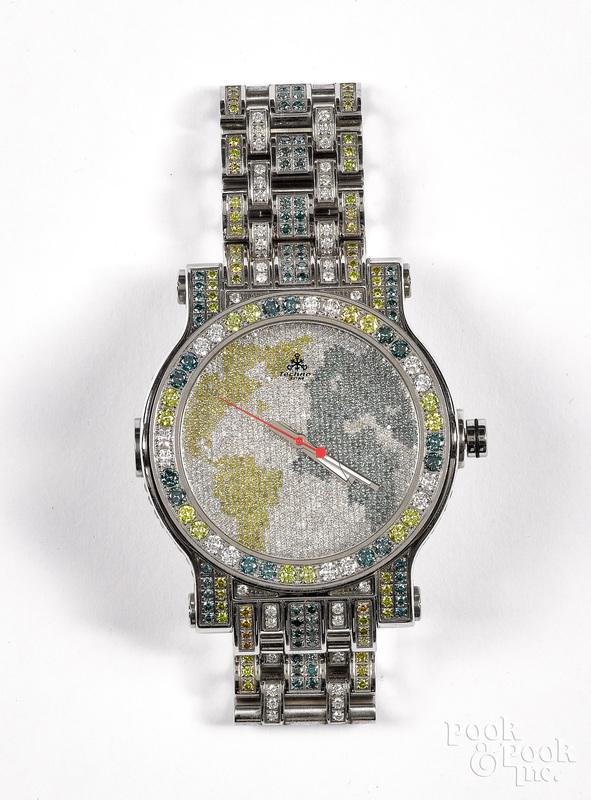 Techno by JPM stainless steel & diamond wristwatc