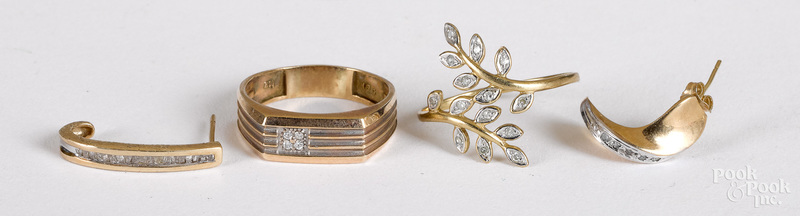 Group of 10K gold and diamond jewelry