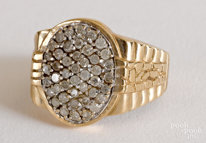 10K yellow gold and diamond men's cluster ring
