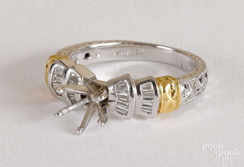 900 Platinum and 18K gold ring