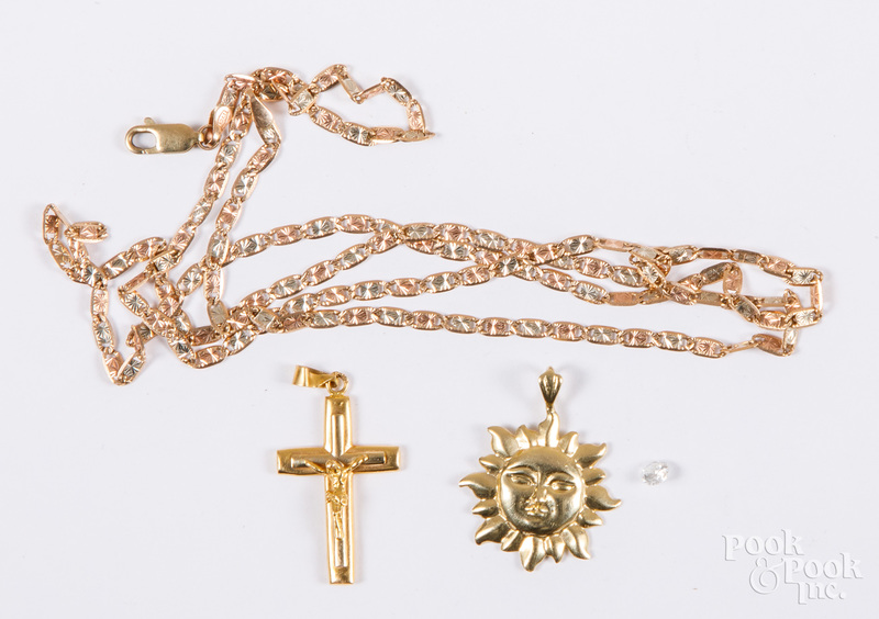 18K gold cross pendant, etc.