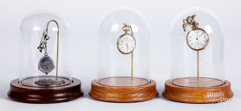Two gold filled ladies pocket watches, etc.