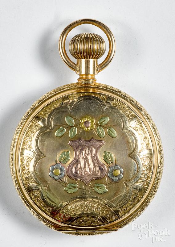 14K three tone gold Waltham pocket watch