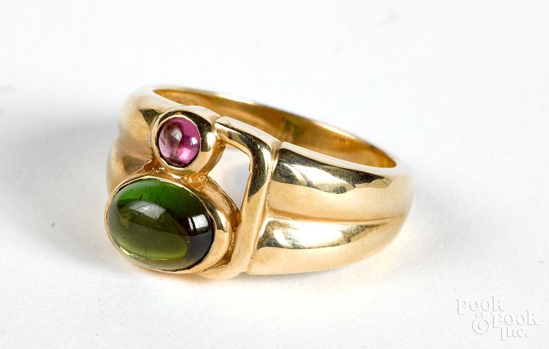 14K gold and tourmaline ring