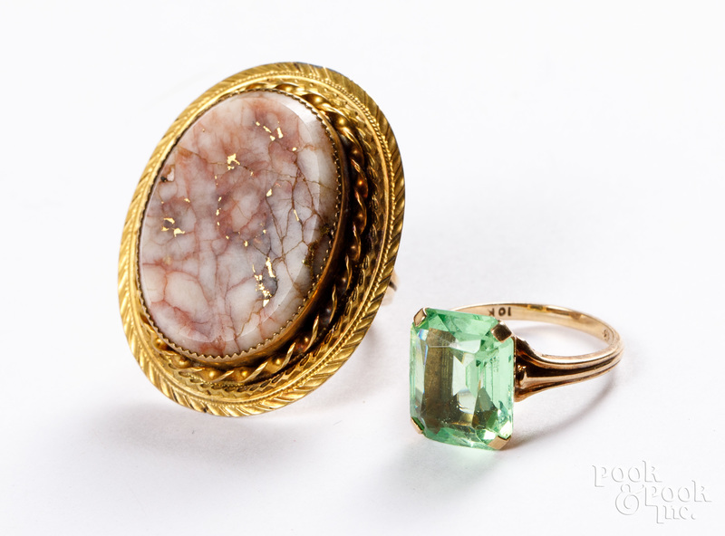 Two 10K gold and stone rings