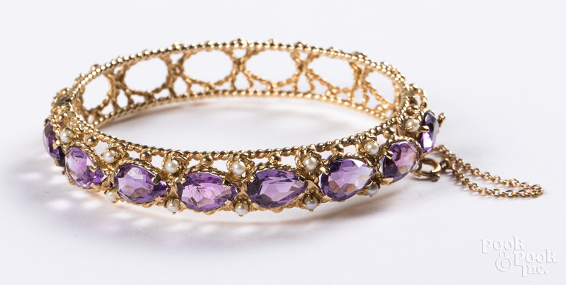 14K yellow gold, amethyst & pearl bangle bracelet