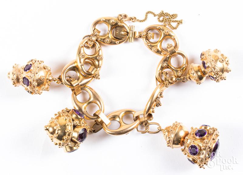 18K gold and amethyst charm bracelet
