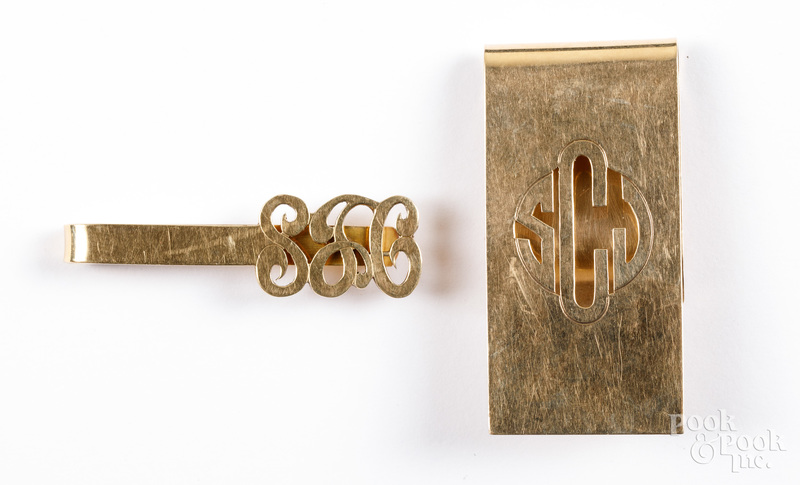 Two 14K gold money clips