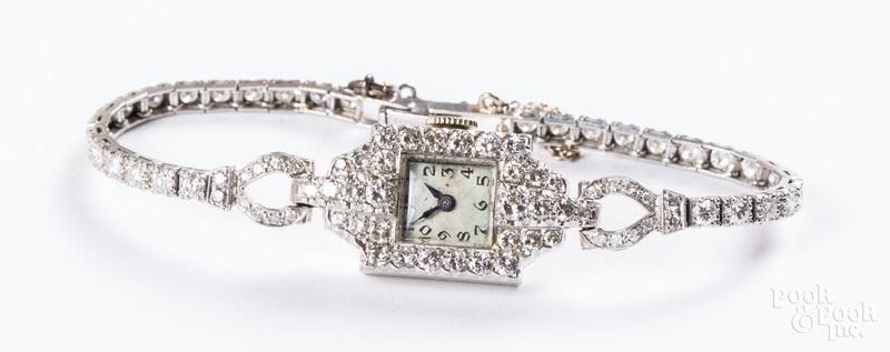 Platinum and diamond ladies wristwatch