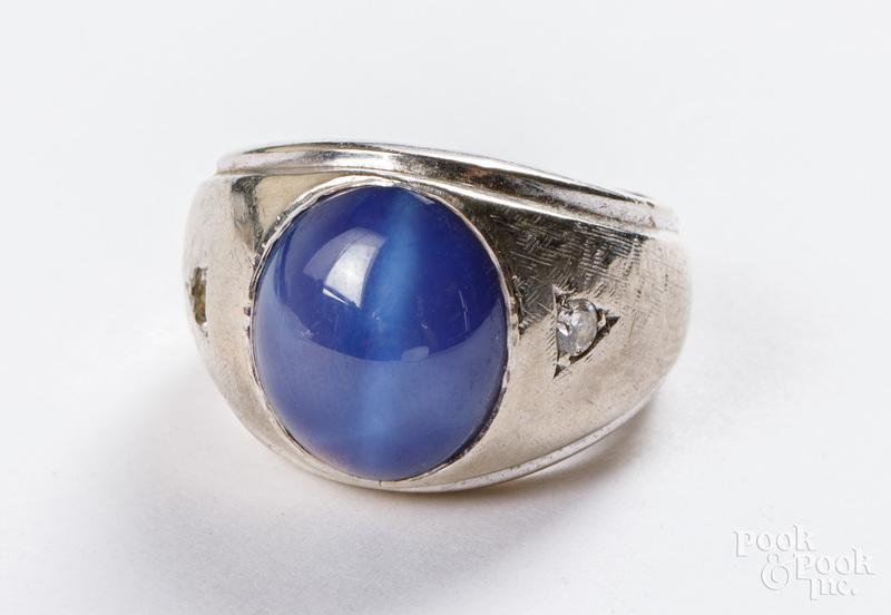 14K gold diamond and gemstone ring