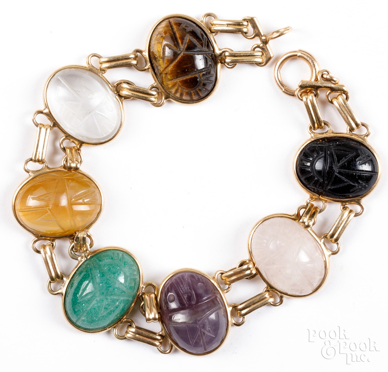 14K gold scarab bracelet.