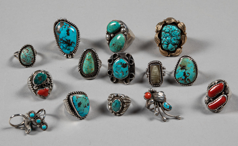 Fifteen Native American Indian turquoise rings
