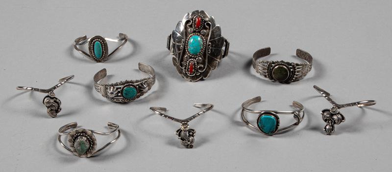 Nine Native American Indian bracelets