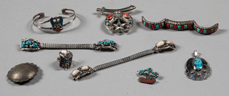 Group of Native American Indian turquoise jewelry