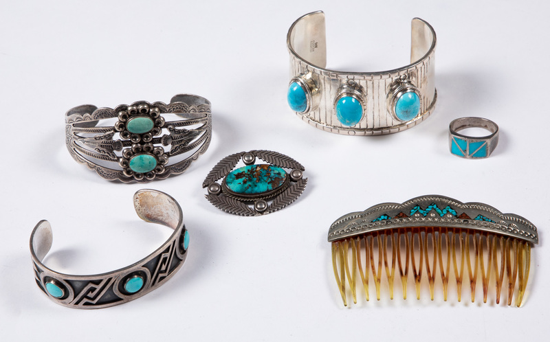 Native American Indian silver & turquoise jewelry