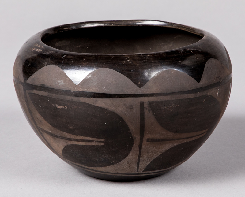 Santa Clara Pueblo Indian black on black vessel