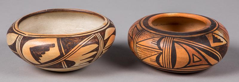 Two Fannie Nampayo Hopi Indian pottery bowls