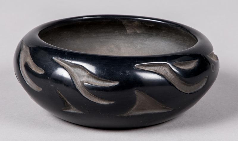 San Ildefonso Indian blackware pottery bowl