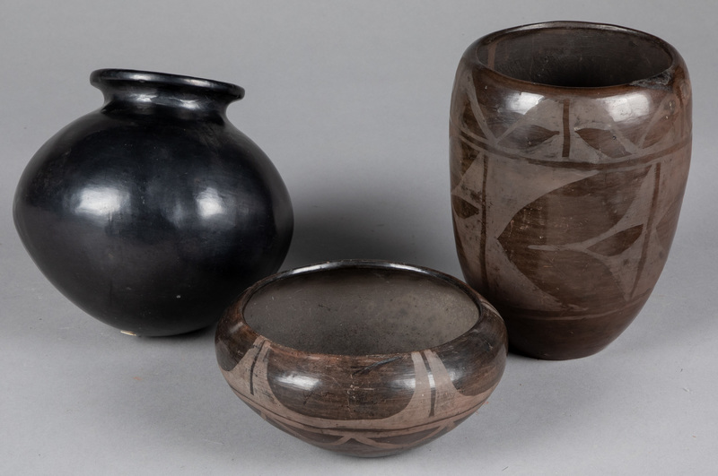 Native American Indian blackware pottery vessels