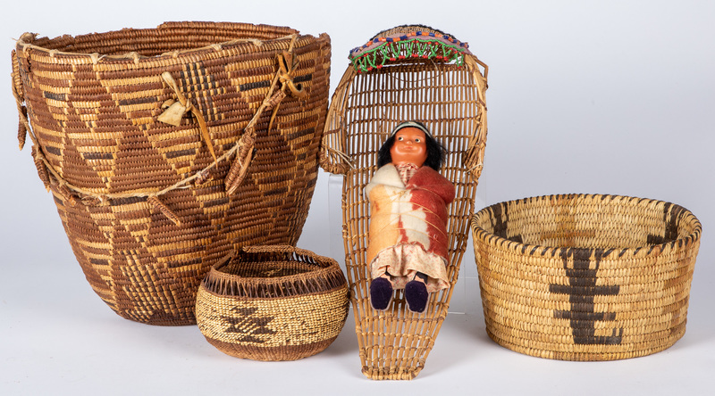 Four Native American Indian basketry, to include