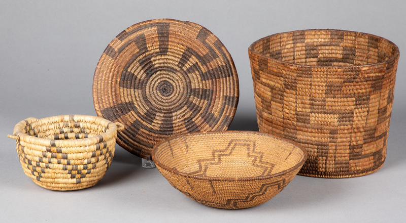 Four southwestern Indian coiled baskets, to inclu