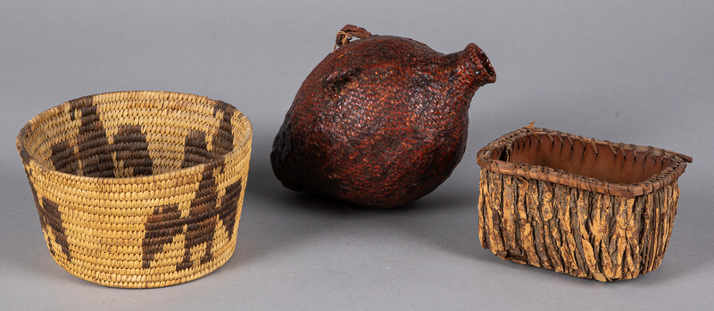 Three Native American Indian basketry items, to i