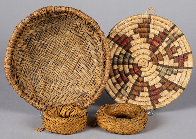 Four Pueblo Indian basketry items, to include a H