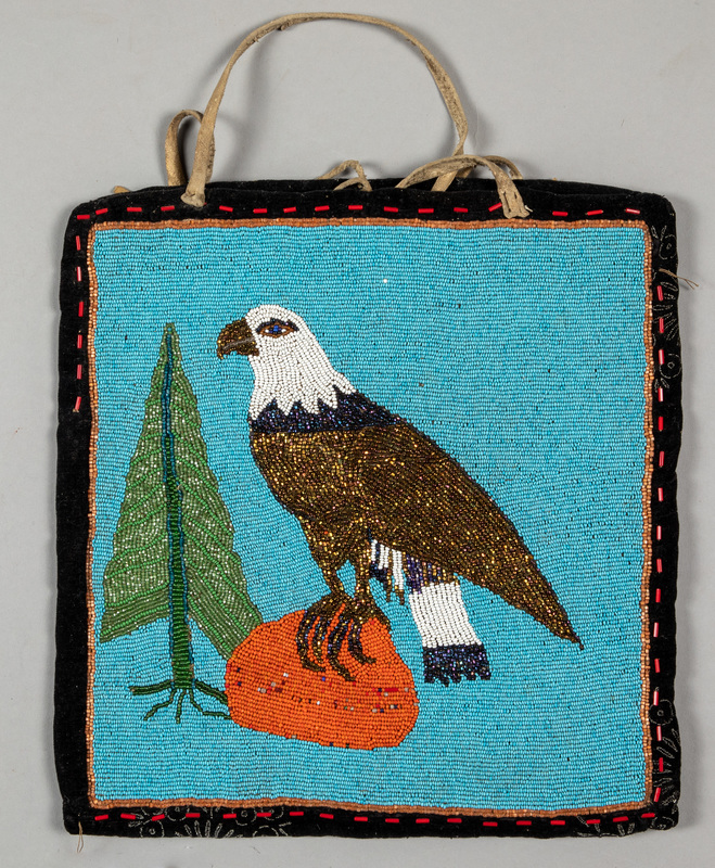 Plateau Indian beaded flat bag, with eagle perche