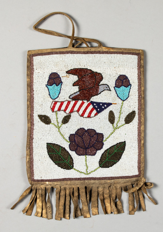Plateau Indian beaded flat bag, with flying eagle
