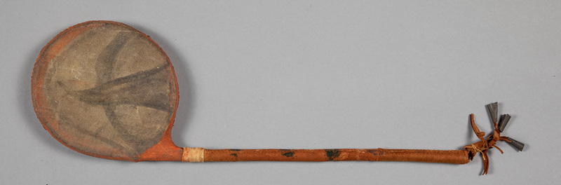 Eastern Sioux Indian drum style rattle, with poyc