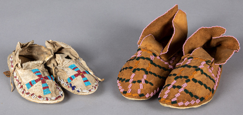 Two pair of beaded Sioux Indian moccasins