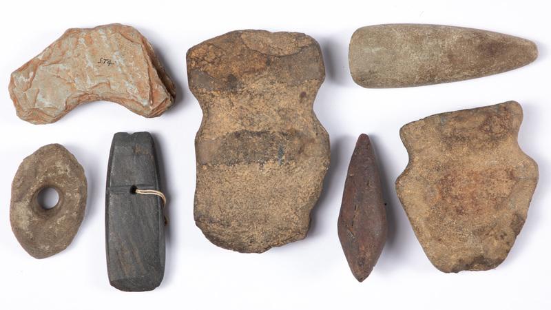 Seven prehistoric stone artifacts