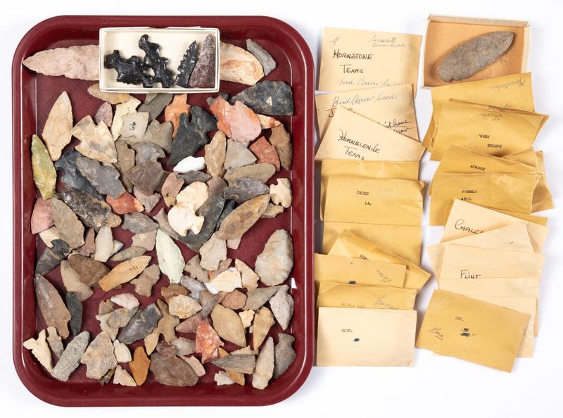 150 prehistoric flint arrowheads
