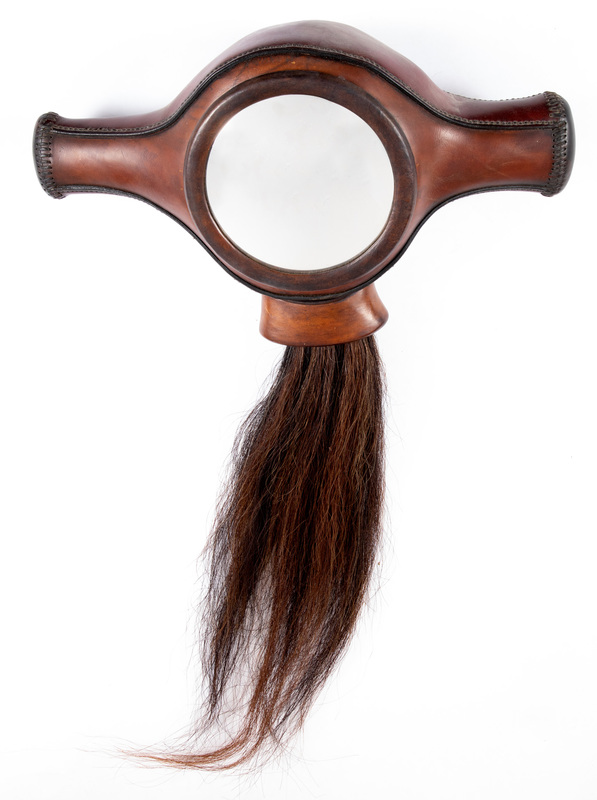 Contemporary leather and horsehair mirror, 20