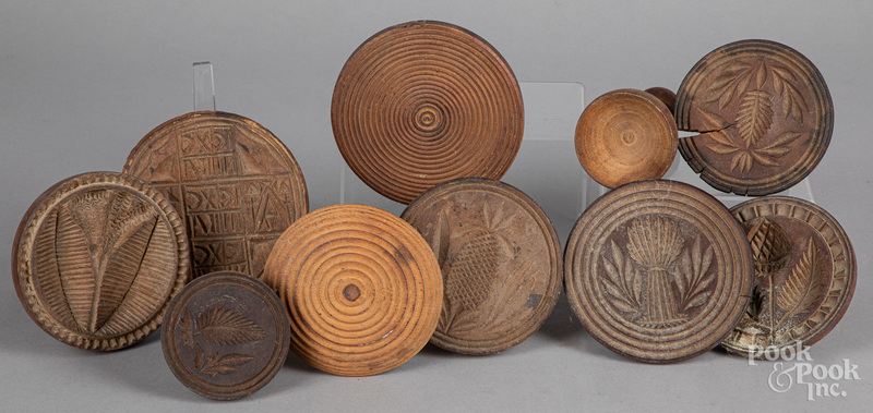 Group of carved butterprints, 19th c.