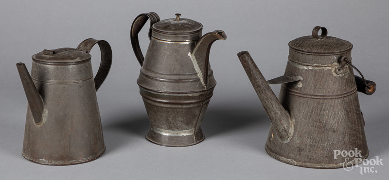 Three tin coffee pots, 19th c.