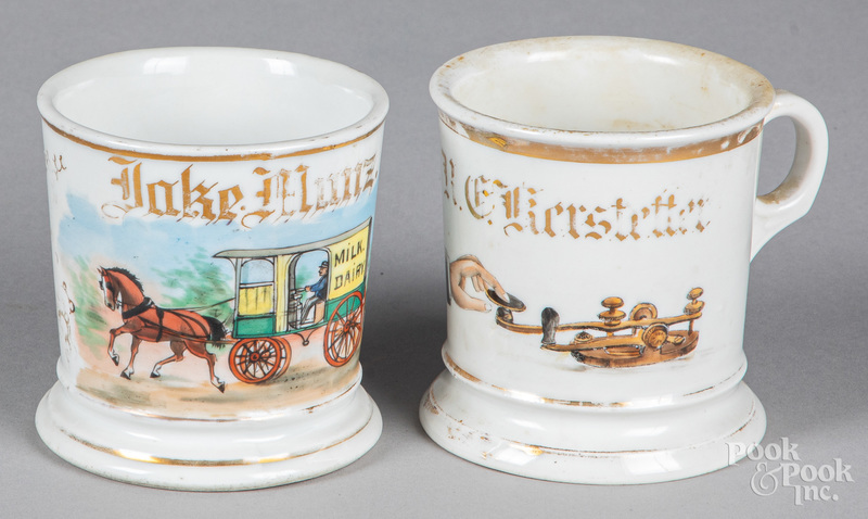 Two porcelain occupational shaving mugs