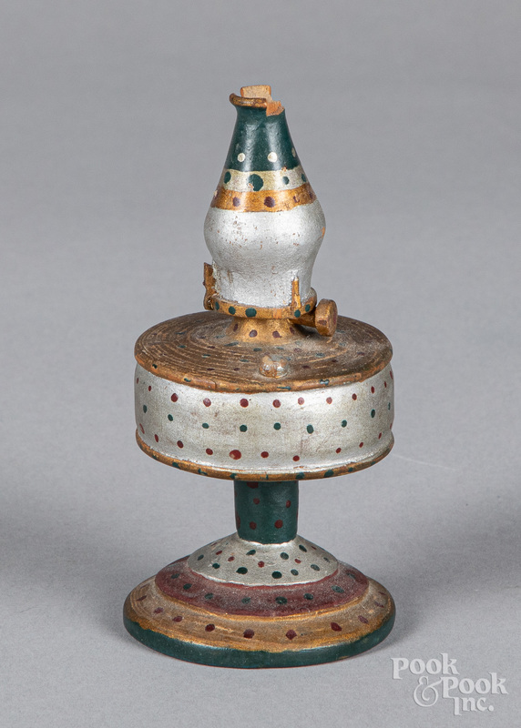 Miniature carved and painted oil lamp