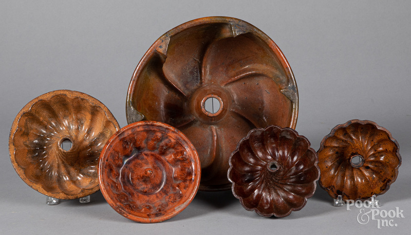 Five redware molds, 19th c.