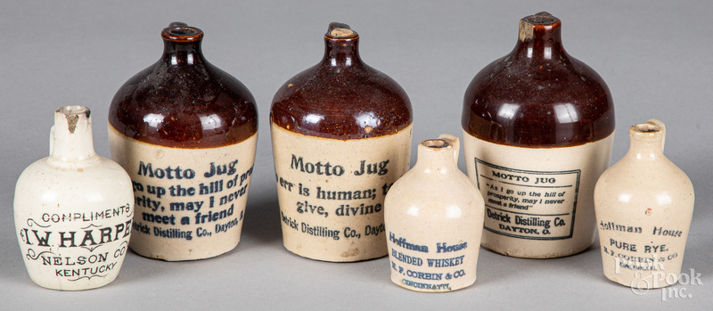Six miniature stoneware advertising jugs
