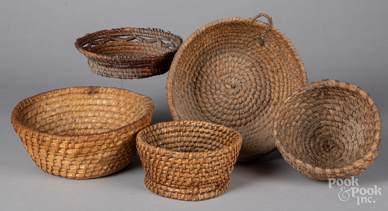Five rye straw baskets, ca. 1900