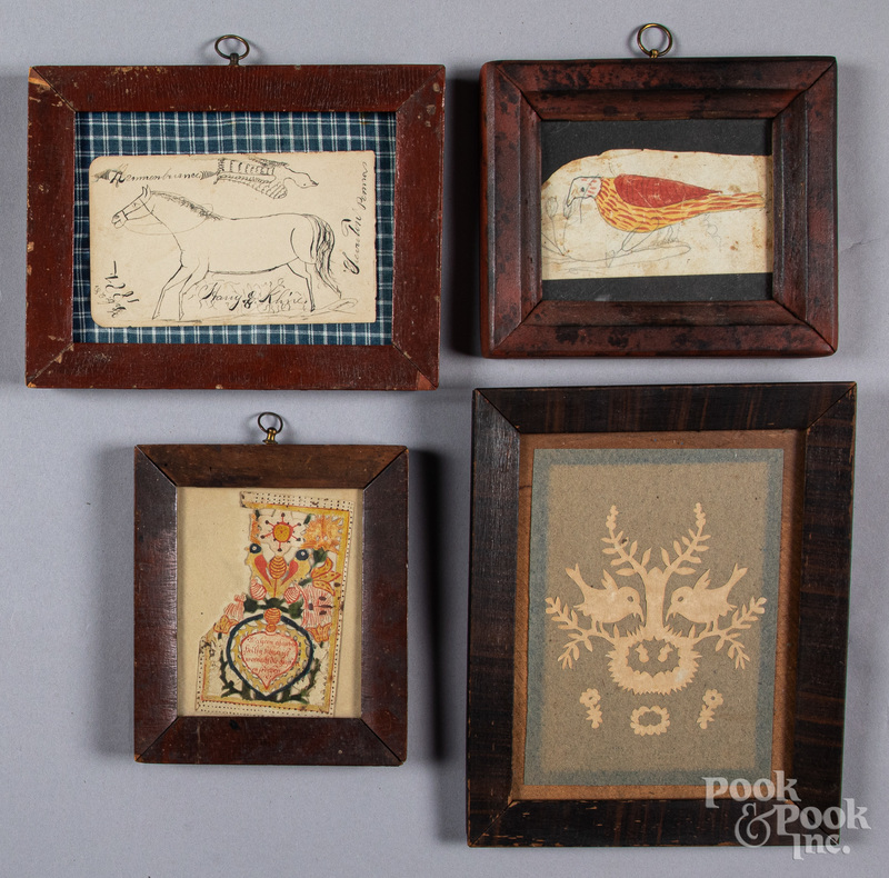 Four Pennsylvania fraktur drawings, etc.