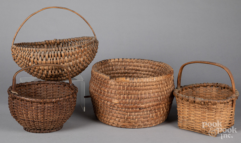 Four assorted baskets, 19th c.