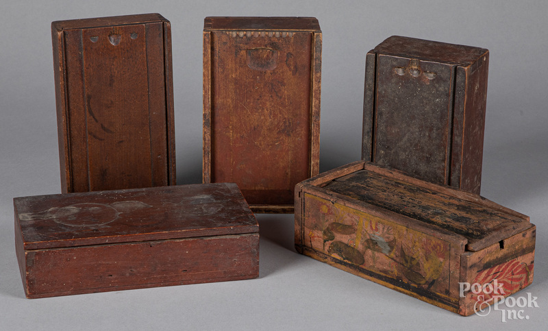 Four slide lid boxes, 19th c., etc.