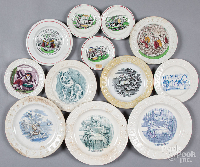Twelve Staffordshire ABC transferware plates