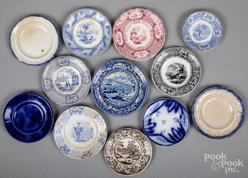 Twelve Staffordshire cup and toddy plates, 19th c