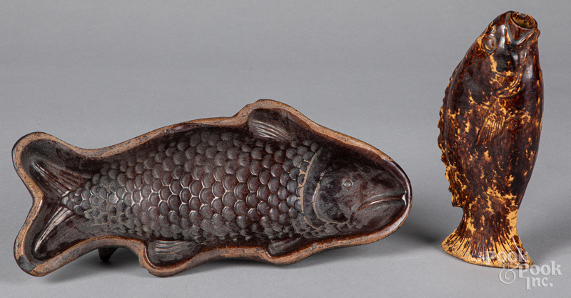 Redware fish mold and flask